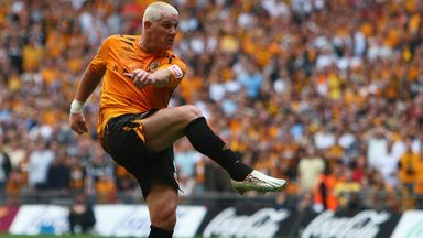 Dean Windass volleys Hull City into the Premier League, with the goal that beat Bristol City in the Championship play-off final at Wembley in 2008