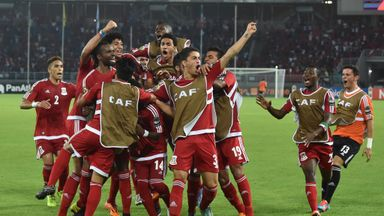 Equatorial Guinea players celebrate during the 2-0 win over Gabon on Sunday