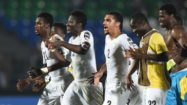 Ghana's players celebrate after winning against South Africa