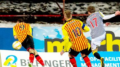 James Dayton scores the decisive goal for St Mirren against Partick