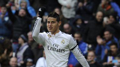 James Rodriguez celebrates after scoring the opening goal