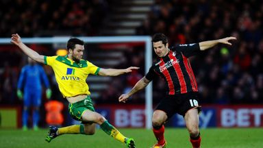 Jonathan Howson (L): Was sent off for this tackle on Yann Kermorgant