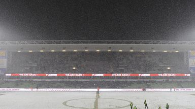 Metz v Nice was played in heavy snow