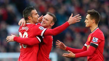 Rovin van Persie (L): Scored opening goal in comfortable win for Man Utd
