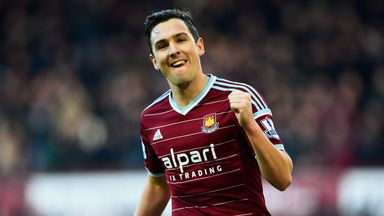 Stewart Downing of West Ham United celebrates as he scores their third goal