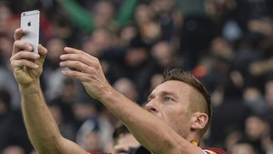Roma forward Francesco Totti takes a selfie after scoring against Lazio.