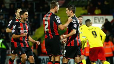 Yann Kermorgant (right): Bournemouth striker celebrates scoring the opening goal
