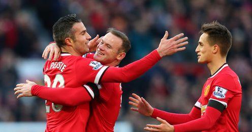Robin van Persie: Celebrates his goal against Leicester