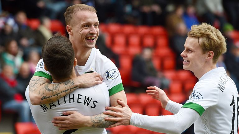 Celtic's Leigh Griffiths celebrates his goal with team-mates Adam Matthews and Gary Mackay-Steven