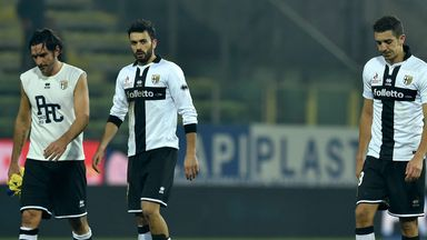 Alessandro Lucarelli, Raffaele Palladino and Zouhair Feddal look dejected as Parma lose again