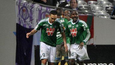 St Etienne celebrate Max Gradel's penalty