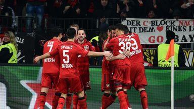 Hakan Calhanoglu of Bayer Leverkusen  against Atletico Madrid
