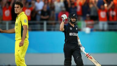 Kane Williamson celebrates after sealing a dramatic victory with a six off Pat Cummins