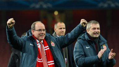 Prince Albert II celebrates after the final whistle at the Emirates