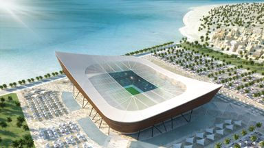 A model of one of Qatar's proposed new stadiums
