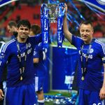 Diego Costa and John Terry: Celebrate with trophy