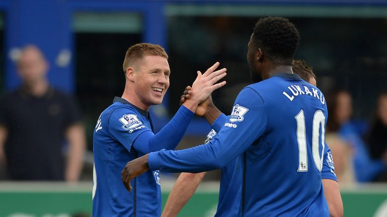 James McCarthy of Everton celebrates scoring the opening goal against Newcastle