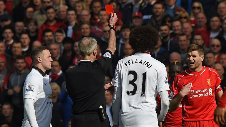 Gerrard is shown a red card within a minute of coming off the bench