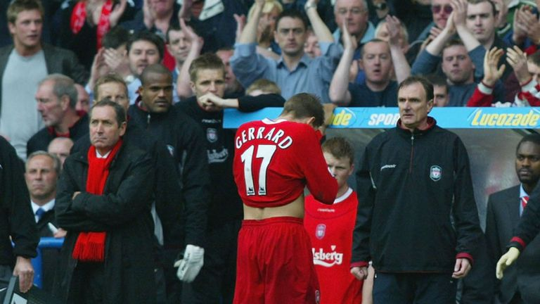Gerrard is dismissed against Chelsea in 2003