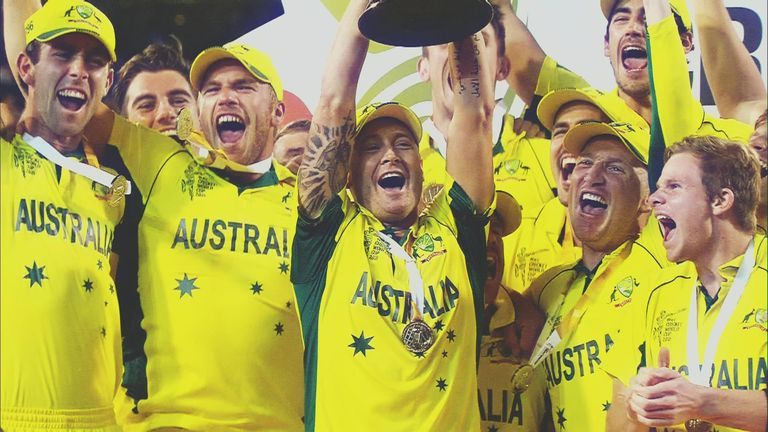 The Australian Team celebrate after the 2015 ICC Cricket World Cup final against New Zealand at Melbourne Cricket Ground on March 29, 2015