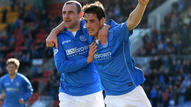 Brian Graham (r) celebrates with team-mate Dave Mackay after firing St Johnstone ahead against St Mirren at McDiarmid Park
