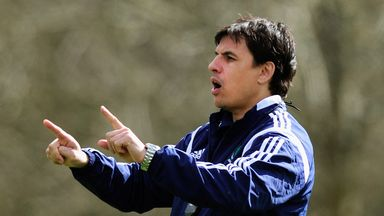 Wales manager Chris Coleman reacts during training
