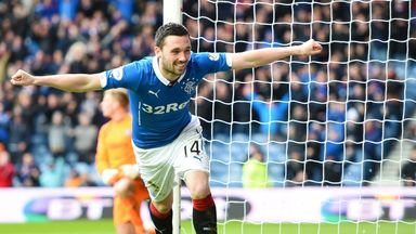 Nicky Clark: Wheels away in celebration after putting Rangers 1-0 up against Cowdenbeath
