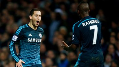Eden Hazard celebrates with Ramires