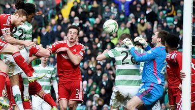 Defender Jason Denayer (22) heads Celtic in front in the top-of-the-table clash with Aberdeen