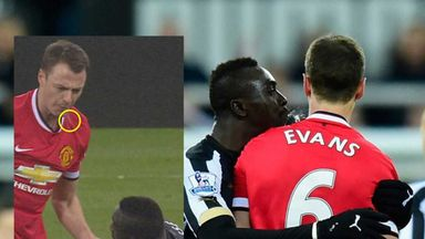 Jonny Evans and Papiss Cisse: Appeared to spit at each another