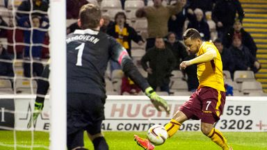 Lionel Ainsworth scores Motherwell's second goal against Hamilton