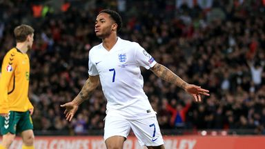 Raheem Sterling: Liverpool star celebrates after scoring against Lithuania