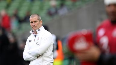 Stuart Lancaster the head coach of England looks on