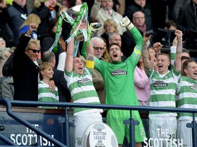 Scott Brown lifts the Scottish League Cup for Celtic