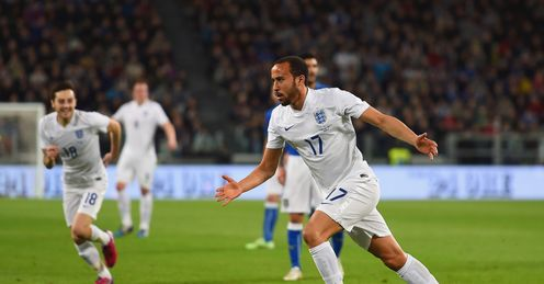 Andros Townsend of England celebrates after scoring against Italy