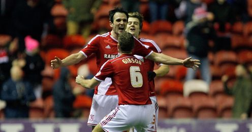 Middlesbrough celebrate as they go top