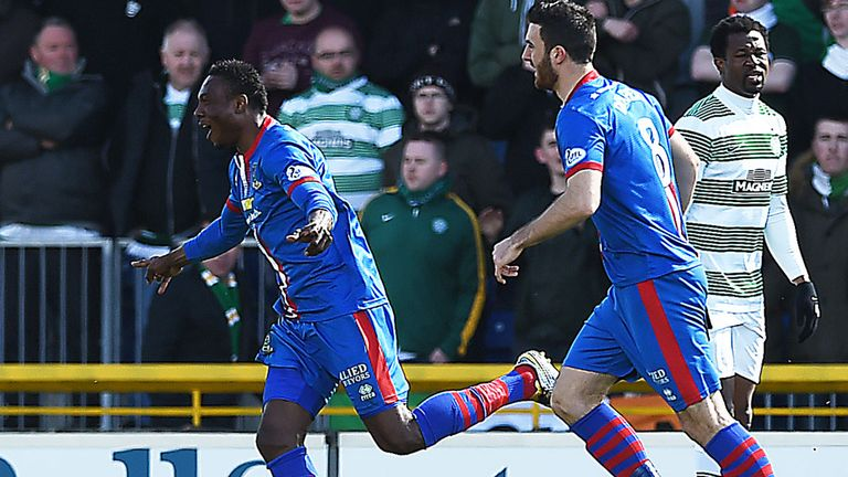 Inverness' Edward Ofere (left) charges off to celebrate his goal against Celtic