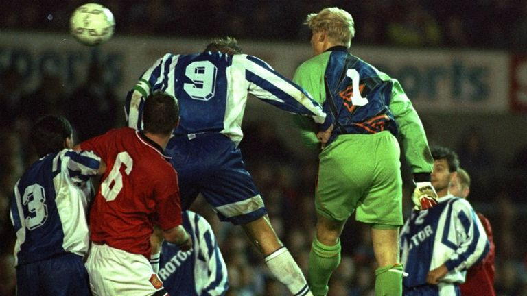 Peter Schmeichel: The big Dane scored against Rotor Volgograd in UEFA Cup defeat
