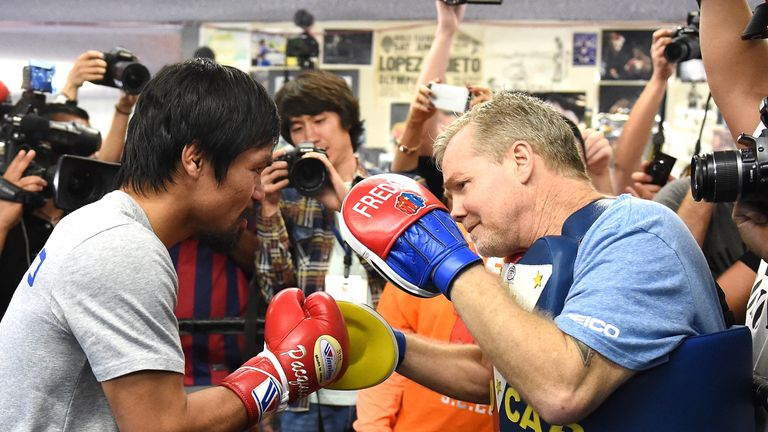 Freddie Roach and Manny Pacquiao took on Team Mayweather in May 2015