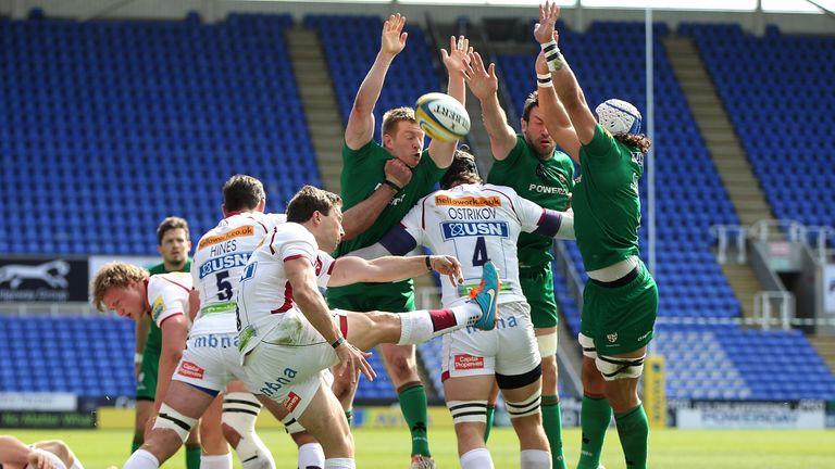 Sale Sharks scrum-half Chris Cusiter clears his lines under pressure