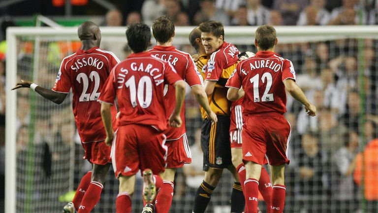 Liverpool's Xabi Alonso celebrates scoring against Newcastle in 2006