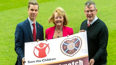 Neil Mathers of Save The Children, Ann Budge and Craig Levein launch new Hearts' #perfectmatch initiative