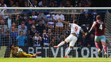 Charlie Austin has his penalty saved by Adrian in the first-half at Loftus Road.