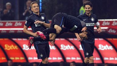 Anderson Hernanes of Inter Milan celebrates scoring the opening goal