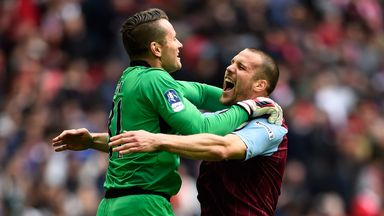 Shay Given and Ron Vlaar celebrate FA Cup semi-final win