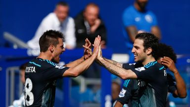 Cesc Fabregas: Celebrates with Cesar Azpilicueta at the final whistle