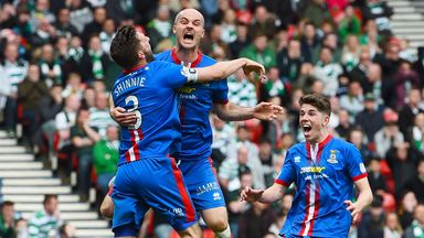 David Raven celebrates his winning goal for Inverness against Celtic