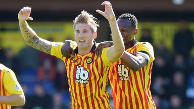 Frederic Frans celebrates as Partick Thistle level matters against Ross County in Dingwall
