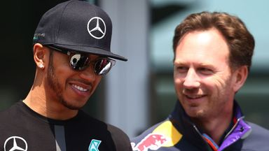 Lewis Hamilton with Red Bull boss Christian Horner