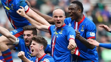 Inverness players celebrate beating Celtic to reach the final
